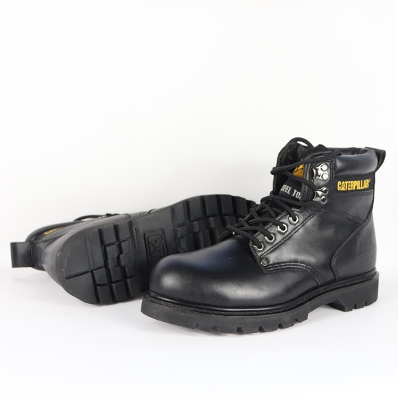 Caterpillar Shoes Vtg New Mens 9 W Steel Toe Boots Black Poshmark